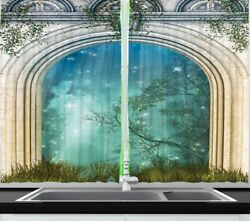 Mystic Forest Nature Kitchen Curtain Panel Set Trees Grass Stars Stone Entrance