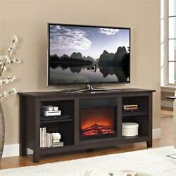 58 in. TV Stand with Fireplace Insert in Espresso Finish [ID 3432804]