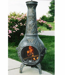 Antique Pewter Butterfly Chiminea Charcoal Grilling Fade Chip Crack Resistant