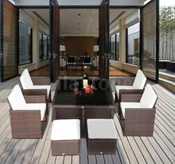 Outdoor 9pc PE Rattan Wicker Nesting Patio Dining Set S2V7
