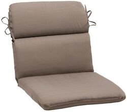 1 Piece Outdoor Rounded Chair Cushion Beige Back Seat Patio Dining Replacement