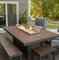 Kenwood Linear Dining Height Aluminum PropaneNatural Gas Fire Pit Table