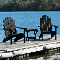 Alcott Hill Highpoint Plastic Adirondack Chair with Table