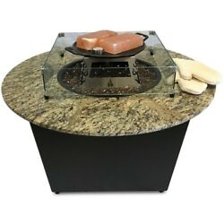 The Santiago Granite Gas Fire Pit Table with Universal Cooking Package