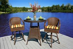 Tortuga Outdoor Patio Furniture 3 Piece Outdoor Bar Set All Weather Wicker Resin