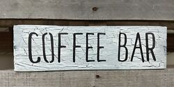 farmhouse sign wood COFFEE BAR wooden rustic decor kitchen crackle small 12 inch $12.99