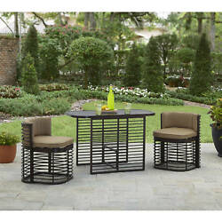 3 Piece Outdoor Bistro Set Table Two Chairs Patio Garden Balcony Furniture