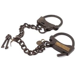 Alcatraz Prison Handcuffs Iron Adjustable Cuffs with Chain amp; Antique Finish $39.99