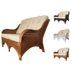 Natural Rattan Wicker Lounge Loveseat Karmen Handmade in 3 Colors wCushions