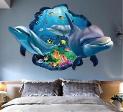 Huge Wall decal Sticker Ceiling Floor Dolphin 3D living room bedroom Bathroom $6.95