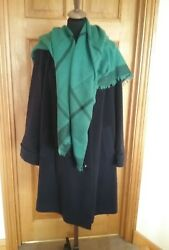 ladies navy wool and cashmere coat by magasin 1820 shawl wrap
