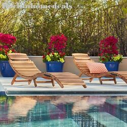 Acacia Chaise Lounge Wood Outdoor Patio Furniture Pool Garden Folding Set-of-2