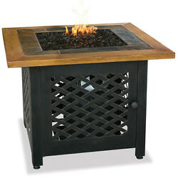 Propane Fire Pit Table Outdoor Patio Gas Firebowl With Slate And Wood Fireplace