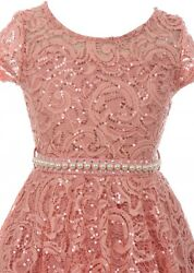 Rose Floral Lace Top Glitter Pearl Sash Wedding Formal Party Flower Girl Dress $37.99