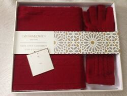 NWT Cynthia Rowley 100% 2 Ply Cashmere Scarf and Gloves Set Dark Red in gift box