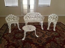 Vintage Cast Iron Grape Leaf Patio Garden Yard Bench 4 pc settee FRESHLY PAINTED