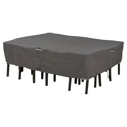 Patio Table Chair Cover Rectangle Dark Taupe Adjustable Straps Handles Polyester