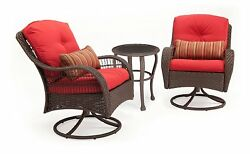 La-Z-Boy Outdoor Bristol Resin Wicker Bistro Patio Furniture Set Scarlet Red 3