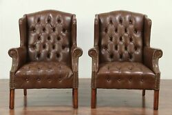 Pair Tufted Leather Vintage Wing Chairs Brass Nail Head Trim #28867