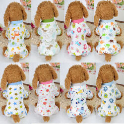 Puppy Pajamas Cotton Small Pet Dog Cat Jumpsuit Warm Indoor Home Costume Clothes $7.99
