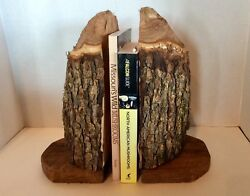 Home Decor Wildlife Rustic Lodge Cabin Bookends Beaver Cut Chewed Wood Tree Log