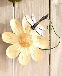 Flower Garden Wall Mount Wind Spinner Dragonfly Outdoor Fence Shed Garage Decor