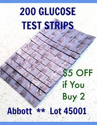200 BLOOD GLUCOSE TEST STRIPS for ABBOTT PRECISION XTRA &other meters 04/2021 $74.99