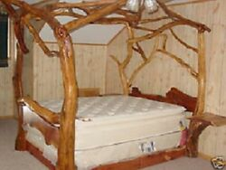 Rustic Red Cedar Log and twig Canopy bed Bookshelf Bed ANY SIZE FOR YOU CABIN!!