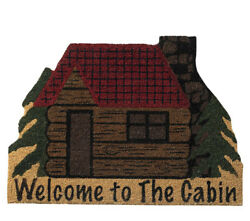 Welcome To The Cabin Coir Doormat Log Cabin Shaped Lodge Home Decoration Durable