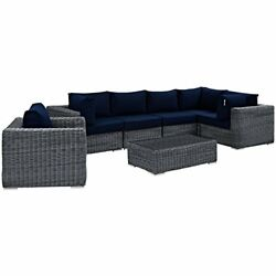 Modway Summon 7 Piece Outdoor Patio Sectional Set With Sunbrella Brand Navy Canv