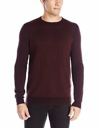 CALVIN KLEIN MEN MERINO ACRYLIC CREW-NECK SWEATER DARK CHESTNUT XXL $89 [13592]