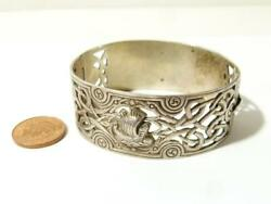 1949 Robert Allison Scottish Silver Viking Boat Bangle Celtic Design 52.1g #A3