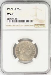 1909-O Barber Quarter NGC MS61 Certified Coin New Orleans Mint JY652