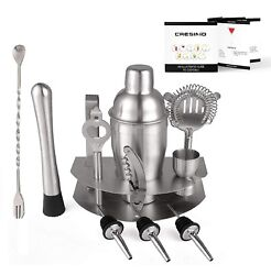 Cresimo Home 12 Piece Brushed Stainless Steel Bar Set Martini Shaker and St... $26.95