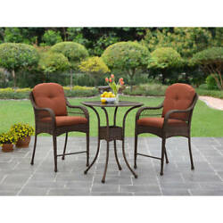 Patio Bistro Set 3pc Balcony Garden Furniture 2 Chairs Table Chat Conversation