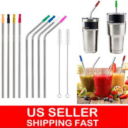 10.5quot; Long Reusable Stainless Steel Drinking Straws Metal for 30 Oz Yeti Tumbler $9.49