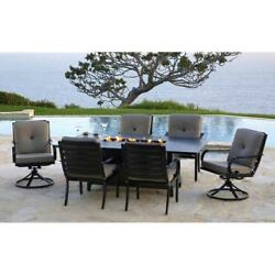 Outdoor 7-piece Fire Pit Table Dining Set Patio Propane Gas Fireplace Furniture