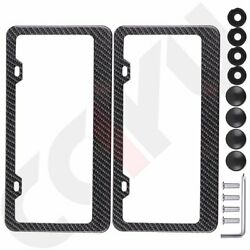 2pcs Carbon Fiber Surface License Plate Tag Snap Fit Frame for Auto-Car-Truck $16.99