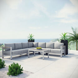 6PC Aluminum Outdoor Patio Furniture Cushioned Sectional Sofa Set in Silver Gray