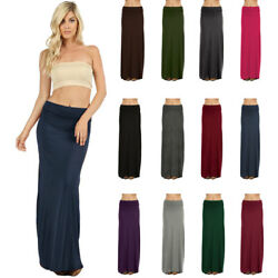 Womens Long Draped Relaxed Jersey Knit Solid Maxi Skirt $16.95