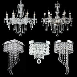 Modern Chandelier Crystal Glass LED Ceiling Light Fixture Pendant Hanging Lamp