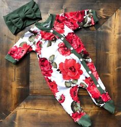 Newborn Baby Girls Flower Romper Bodysuit Jumpsuit Headband Outfits Clothes Set