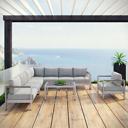7PC Aluminum Outdoor Patio Furniture Cushioned Sectional Sofa Set in Silver Gray