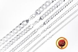 ITALY 925 SOLID Sterling Silver Diamond Cut CURB Chain Necklace or Bracelet $22.95