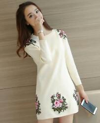 Womens Embroidery Floral Round Neck Pullover Long Blouses Fashion Tops NEW E993 $34.39