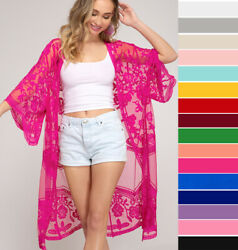 She & Sky Embroidered Lace Kimono Sleeve Open Front Cardigan Jacket Long Duster