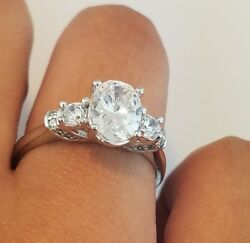Three Stone 1.50 CT Diamond Engagement Ring Oval Cut 14k Solid White Gold Bridal