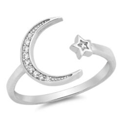Wraparound Moon and Star White CZ .925 Sterling Silver Ring Sizes 4 12 NEW $12.95