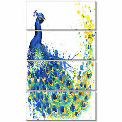 'Exotic Peacock Watercolor' 4 Piece Painting Print on Wrapped Canvas Set