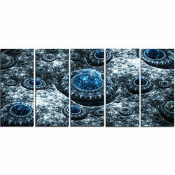 'Blue Fractal Exotic Planet' Graphic Art Print Multi-Piece Image on Canvas